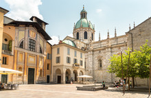View Of Duomo Square In The Historic Center Of Como, Italy.