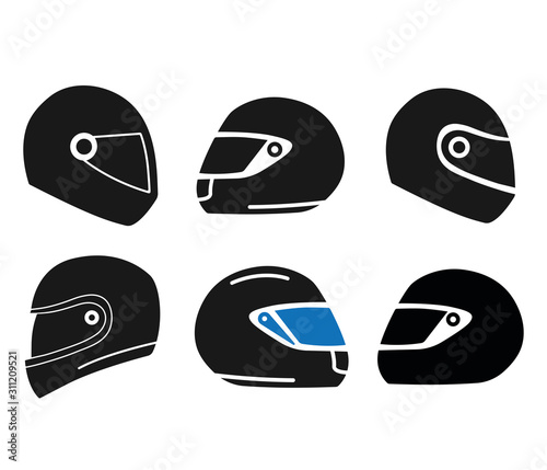 Motorcycle helmet icon sets Wall mural