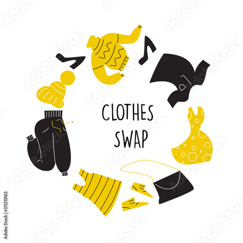 Vector illustration of different clothes for exchange Canvas Print