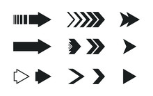 Arrows Vector Icons Set. Flat Different Black Arrows Illustration Isolated On White Background. Interface Elements For Web Or App Design. Forward, Next, Play, Fast Pictogram For Navigation Buttons.