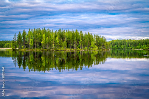 Karelian lakes at sunset and sunrise Fototapeta