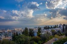 Aerial View On Haifa And  Major Port At Israel