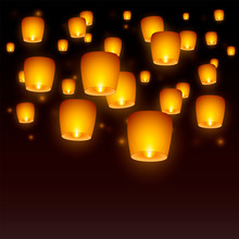Flying Paper Sky Lanterns With...