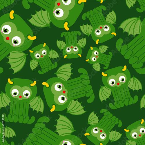 Cute Cthulhu baby pattern seamless Canvas Print