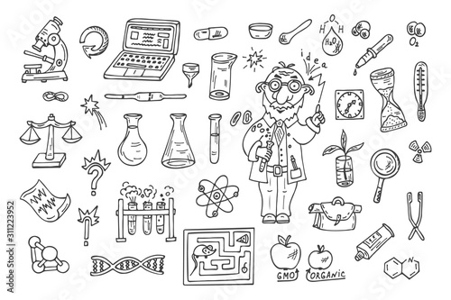 Photo Set of science symbols and funny scientist or professor
