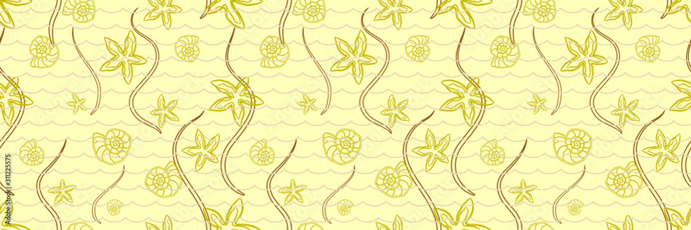 Panoramic Seamless Marine Pattern with Starfishes and Seashells. Beige Contour Silhouettes Isolated on a Yellow Background.  Poster for Print in a Flat Style.
