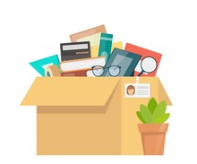 Office Accessories In Cardboard Box. Working Stuff, Documents, Plant, Photo Frame, Calculator, Glasses. Moving Into A New Office. Flat Style Vector Illustration.