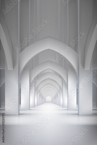 Long hall in historic interior. Arcades in the old castle. Vector illustration.