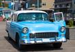Blue Car in Ketchikan Downtown, Alaska