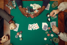 Poker Players Hands With Cards...
