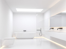 A Simple White Bathroom 3d Render. The Room Has White Walls And Floors Decorated With Hidden Light In The Walls. Natural Light Shines Through The Skylight Box On The Ceiling.