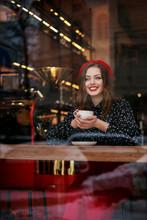 Happy Smiling Woman Drinks Cof...