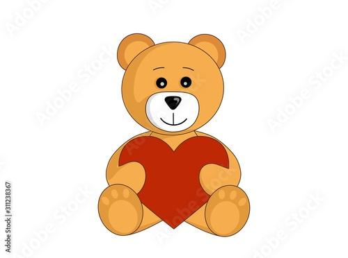 cartoon teddy bear with red heart. valentine's day design element #311238367