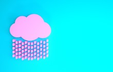 Pink Cloud With Rain Icon Isol...