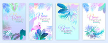 Neon Tropical Vector Banner Of Flamingo, Monstera, Flowers, Tropical Leaves Of Palm Tree