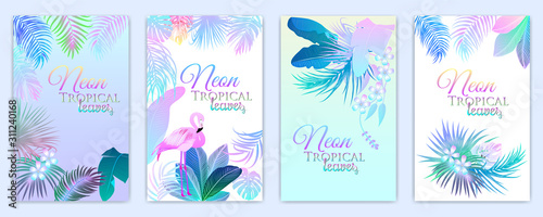 Obraz Neon tropical vector banner of flamingo, monstera, flowers, tropical leaves of palm tree - fototapety do salonu