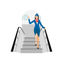 Vector Illustration Of Stewardess Dressed In Blue. Flight Attendant Goes Down The Plane, Smiles And Waves His Hand