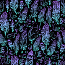 Seamless Pattern With Feather, Beads And Crystals Gems. Vector Illustration.