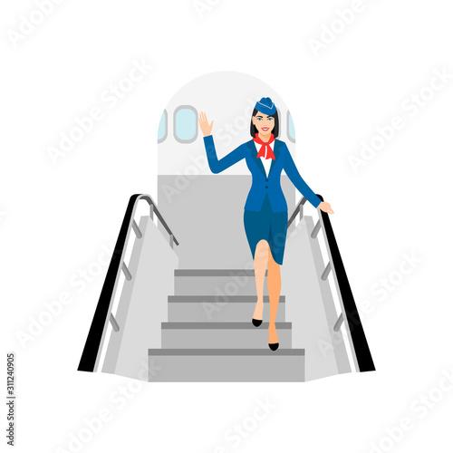 vector Illustration of stewardess dressed in blue Wallpaper Mural