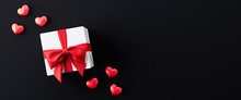 White Gift Box With Red Ribbon And Red Hearts On Black Background 3d Render 3d Illustration