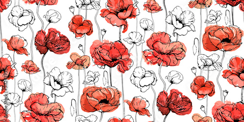 Obraz maki   seamless-floral-decorative-pattern-with-red-flowers-and-buds-poppies-shirley-canker-rose