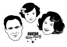 Avatar Retro Family. Cartoon F...