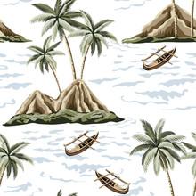 Hawaiian Vintage Island, Palm Tree, Sea And Boat Summer Seamless Pattern.Exotic Jungle Wallpaper.
