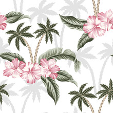 Tropical Hawaiian Palm Trees Vintage Pink Hibiscus Flower Green Palm Leaves Floral Seamless Pattern White Background. Exotic Jungle Wallpaper.