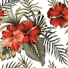 Tropical Vintage Red Hibiscus ...