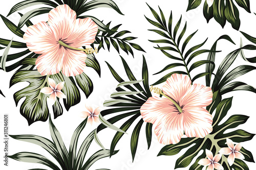 Tropical Peach Hibiscus And Plumeria Floral Dark Green Palm Leaves Seamless Pattern White Background Exotic Jungle Wallpaper Wall Mural Good Mood 750 tropical leaf white background stock vector art and graphics. tropical peach hibiscus and plumeria floral dark green palm leaves seamless pattern white background exotic jungle wallpaper wall mural