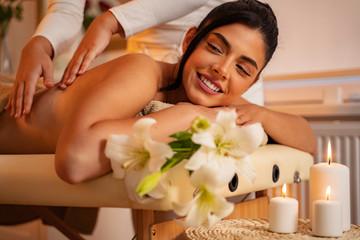 Obraz na płótnie Canvas massage, massaging, girl, European, spa , treatment, luxury,