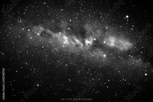 Obraz Vector illustration with night starry sky and Milky Way. Space black and white background with fragment of our galaxy - fototapety do salonu