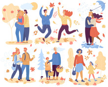 People In Autumn Park Vector Happy Man Woman And Kid Character Walking In Love Picking Leaves Mushrooms Outdoor. Illustration Set Of Kissing And Jumping Couple In The Fall Isolated On White Background