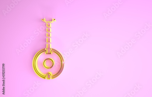 Yellow Banjo icon isolated on pink background Canvas Print