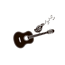 Icon Of Classical Acoustic Guitar With Singing Bird Isolated On White Background
