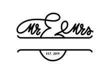 Mr And Mrs Wedding Monogram Template. Vector Illustration.