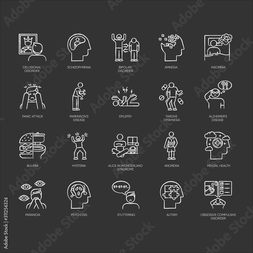 Photo Mental disorder chalk icons set