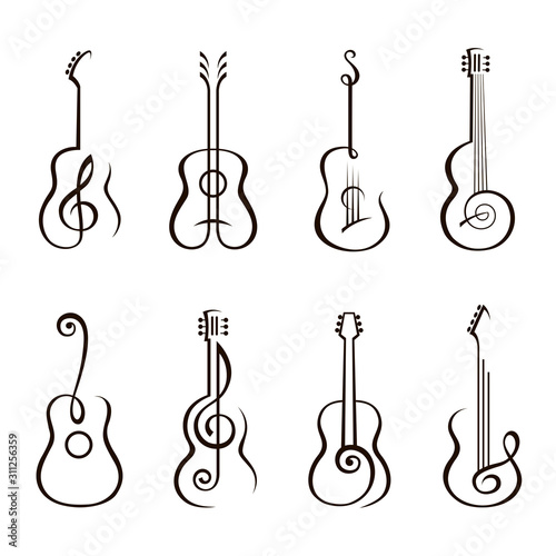Obraz na plátně collection of classical acoustic guitar isolated on white background
