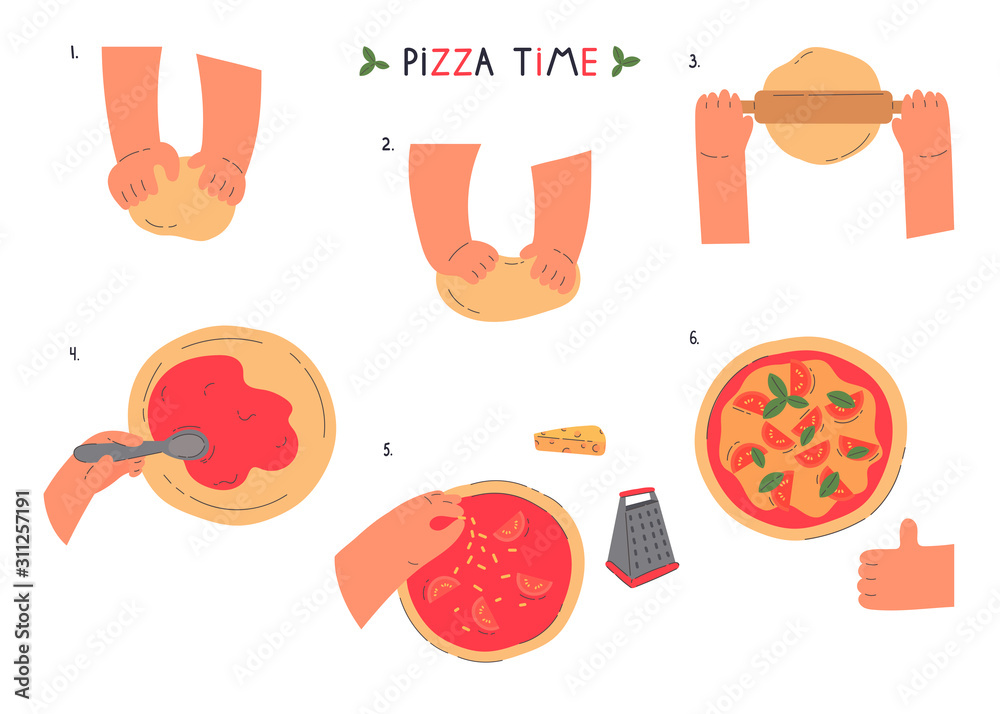Fototapeta Hands knead dough and making pizza,line drawing isolated symbols for bakery at white background.Stages of preparing pizza.Making pastry,bread,bakery.Cartoon style.Colorful flat vector illustration.