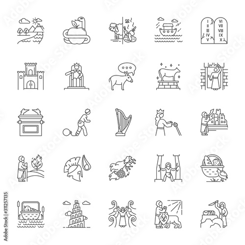 Bible narratives linear icons set Canvas Print