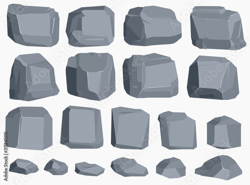 Rock stone cartoon in flat style. Set of different boulders Canvas Print