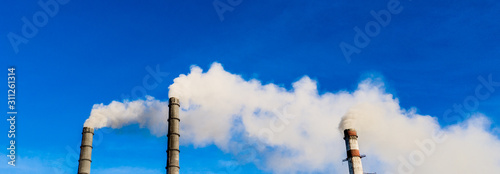 Foto Industrial smoke stack of coal power plant