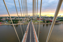 Swietokrzyski Bridge Over Wisla River In Warsaw Capital Of Poland