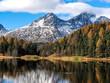 Autumn reflections on the lake Silvaplana, Engadine Saint Moritz, Switzerland