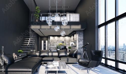 Fototapeta Luxury modern penthouse interior with panoramic windows, 3d render obraz