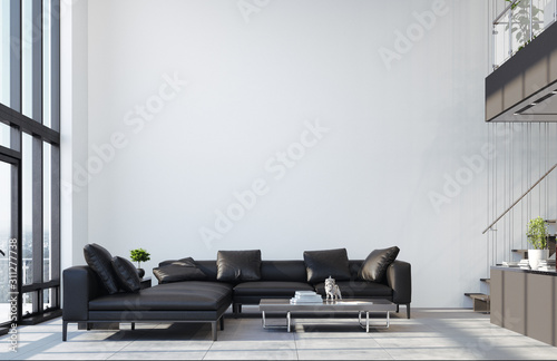 Obraz Luxury modern penthouse interior with panoramic windows, 3d render - fototapety do salonu