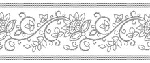 Seamless Zigzag Textile Stitch Floral Border