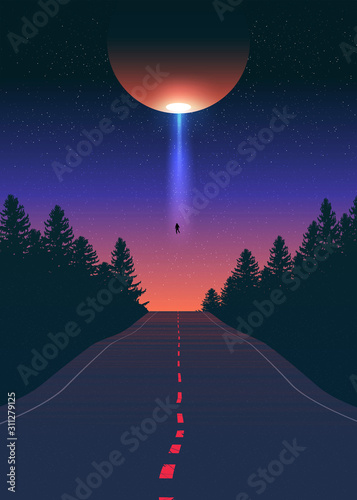Платно Alien Abduction Vector Art