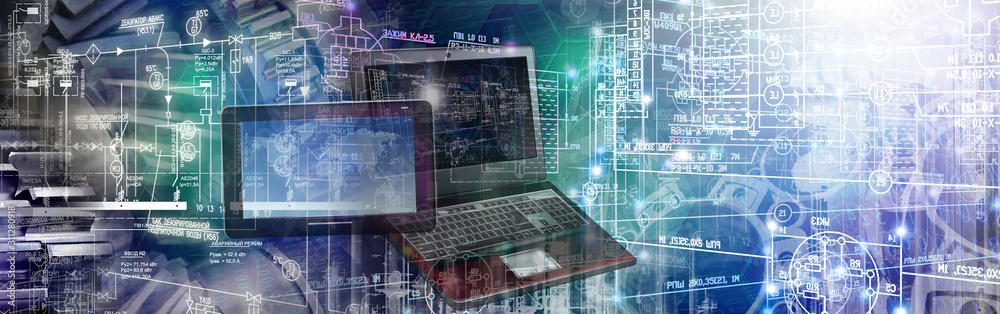 Fototapeta engineering industry computing manufacturing  background concept