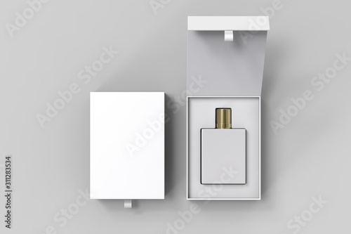 Fototapeta Blank perfume bottle in hard box for branding, 3d render illustration. obraz